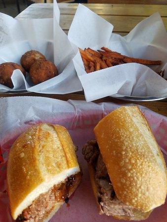 Turlock, CA: BBQ brisket sandwich, mac&cheese balls, & sweet potato fries.