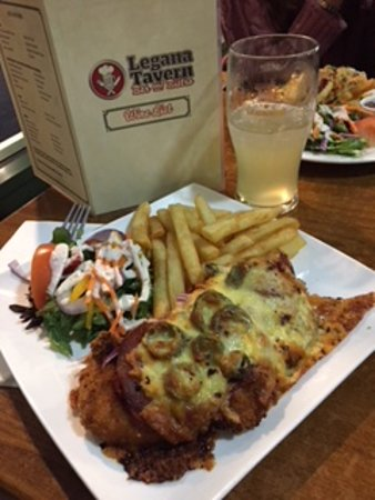 Legana, Australia: Mexican Parmy with chips and salad..