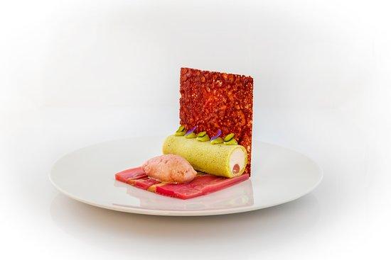 Cote Square: Cylindre pistache-rhubarbe
