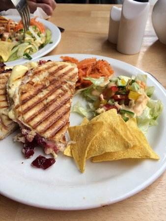 Beckett's coffee shop: Wensleydale cheese and cranberry panini with side salad