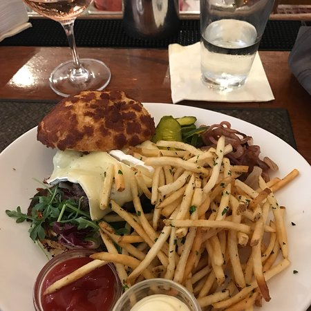 Great wine but the burger was 'meh'