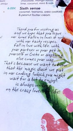 The Home Agia Pelagia: lovely comment from the staff within the menu that we liked