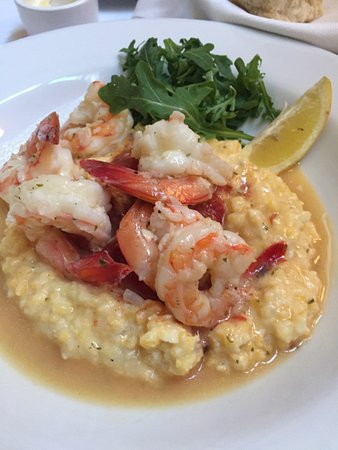 Hamiltons' at First & Main: Carolina Shrimp Poached in Chardonnay and Lemon with Woodson's Mill Creamy Grits