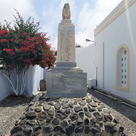 Megalochori - Traditional Village: Not sure. Cool memorial. I think this commemorates fallen soldiers from Megalochori