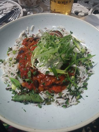 Swansea County, UK: My favouite fish. Smoked aubergine chilli.