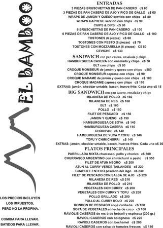 Balgue, Nicaragua: menu