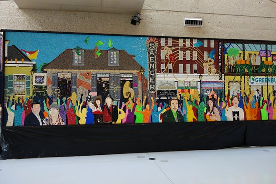 Indiana Welcome Center: New Orleans Mural Made from Madi Gras beads