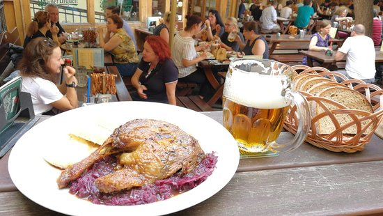 Malostranska Pivnice: roasted duck with cabbage and bread, pilsner urquell