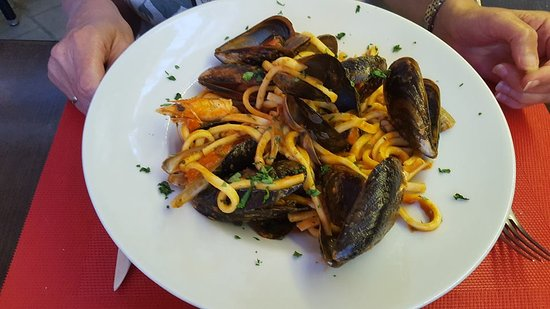 Palm-Mar, Spain: Scialatielli met zeevruchten