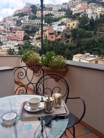 Hotel Savoia: private balcony view with coffee I carried to room