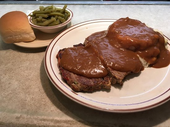 Pekin, IL: HOMEMADE Meatloaf dinner served with HOMEMADE gravy! It comes with two sides and a roll!