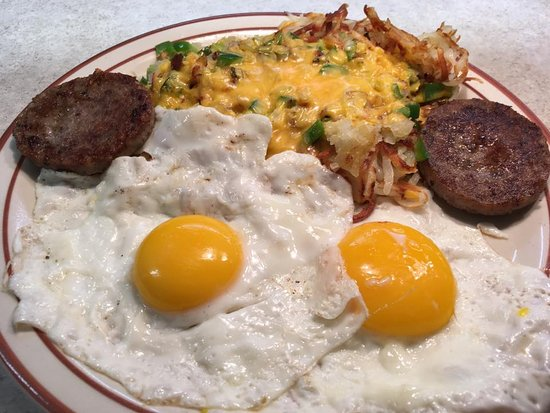 Pekin, IL: Sunny Side Up Breakfast with Loaded Hashbrowns! It hits the spot!