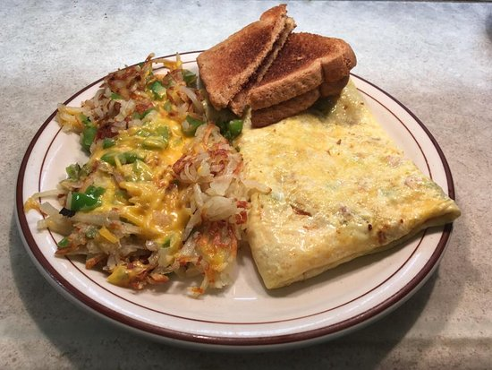Pekin, IL: Denver Omelette with Loaded Hashbrowns! Goes great with their fresh coffee!