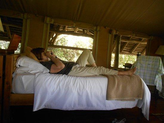 Elewana Tortilis Camp Amboseli: Bird watching from out tent