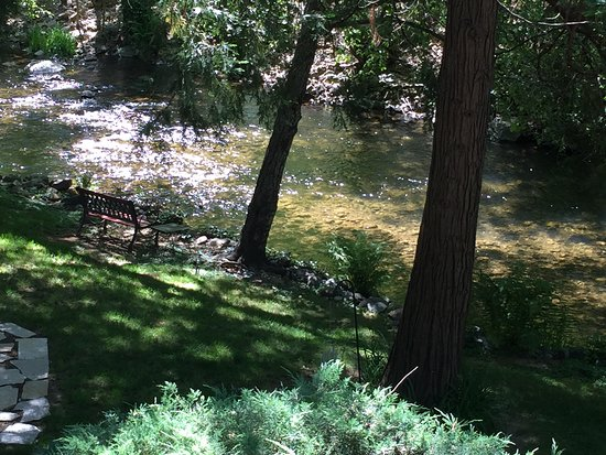 Deer Creek Inn: Great view of the creek from the side patio off the Gigi Room.