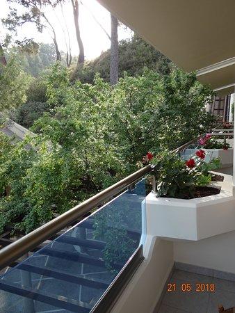 Possidi Holidays Resort & Suites Hotel: Если посмотреть из номера направо, то будет виден фуникулер.