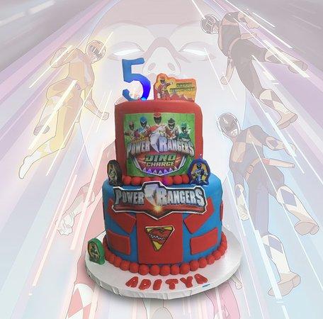 Terrific Power Rangers Birthday Cake Picture Of Bakery Treatz Chaguanas Personalised Birthday Cards Veneteletsinfo