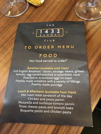 The Yorkshire Premier Lounge: Menu
