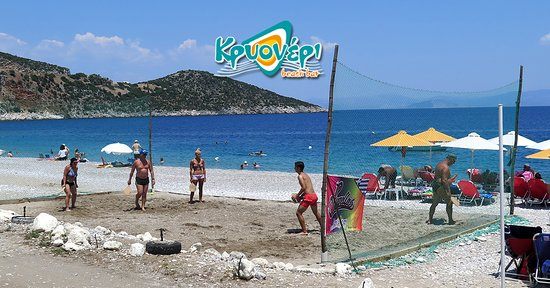 Tyros, Greece: Krioneri Beach Bar | Rackets Court | Volleyball Court