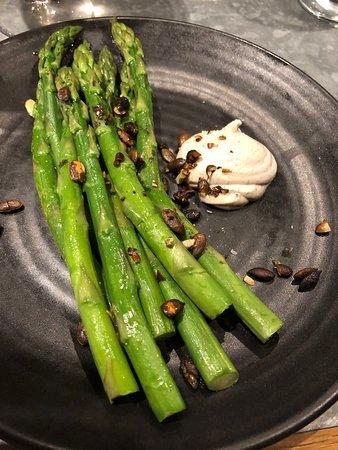 64 Degrees: Asparagus, black pepper aioli (£11)