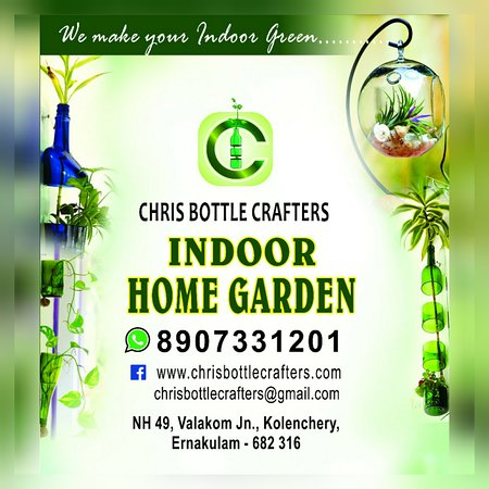 Muvattupuzha, Indien: Chris bottle Crafters indoor home garden,  u get all indoor garden decoration plants, pots