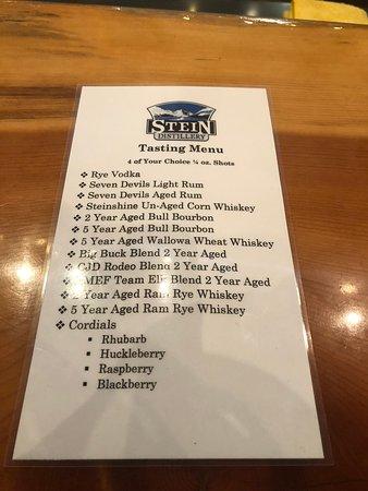 Stein Distillery: Tasting Menu