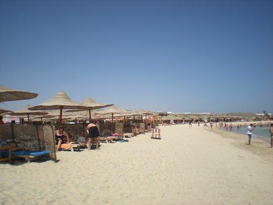 Marsa Mubarak: spiaggia attrezzata con lettini ed ombrelloni