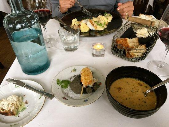 Budir, Iceland: Lobster soup, lobster, fish, bread, water, yum.