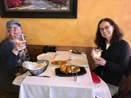 El Granada, CA: Enjoying our food - cheers!