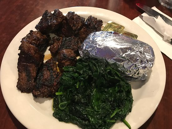 1048 Bar and Grill : Beef tips, sauteed spinach, and a baked potato - really good!