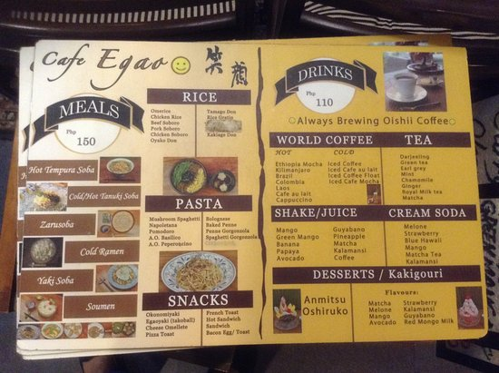 Menu 1 Picture Of Cafe Egao Cebu City Tripadvisor