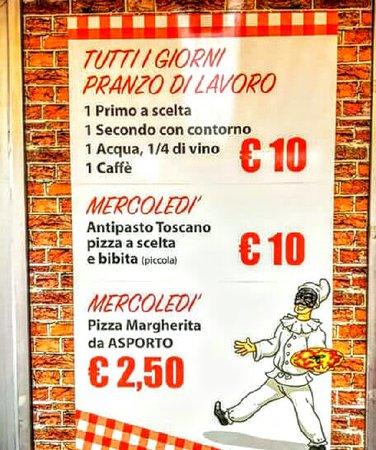 Massa e Cozzile, Italy: Menù pranzo di lavoro dal lunedi al sabato