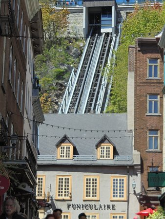 Old Quebec Funicular: View of the funicular rail from teh old town