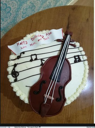Strange Lovely Birthday Cake With A Violin Music Theme Picture Of Tonis Birthday Cards Printable Benkemecafe Filternl