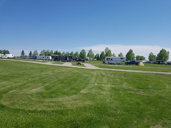 Calaway Park RV Park and Campground : View of full service sites from field across from Calaway Park