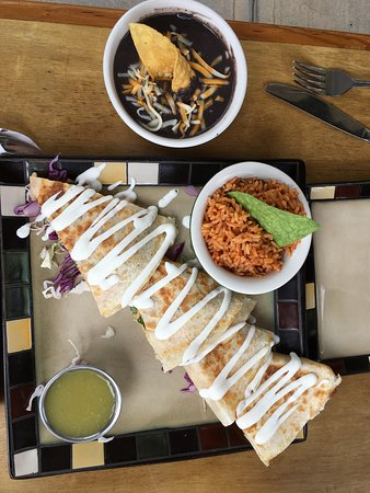 Iguanas Mexican Grill: Quesadilla - chorizo with black beans and rice on the side