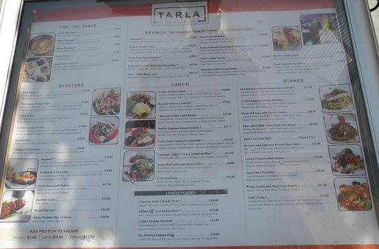 Tarla Mediterranean Bar & Grill: Menu