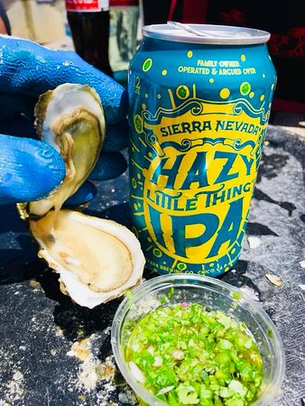 Marshall, CA: Oysters fresh out of the water and paired with a Sierra Nevada Hazy Little Thing IPA.