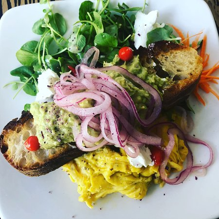 Caffe Machiatto: Our number one selling dish...The Avocado Toast & Eggs Plate