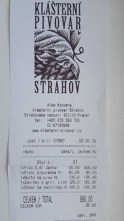 Uctenka Picture Of Klasterni Pivovar Strahov Prague Tripadvisor
