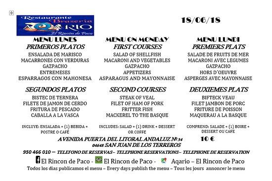 San Juan de los Terreros, Spain: MENU LUNES 18/06