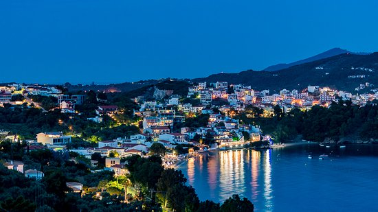 Evening view towards Skiathos town from our balcony room 102