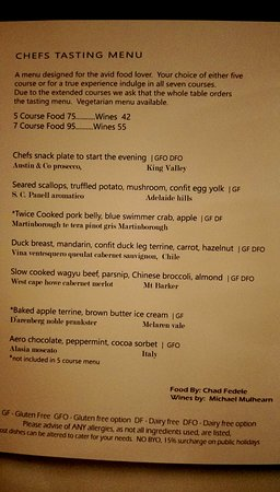 Tides Waterfront Dining: Degustation menu
