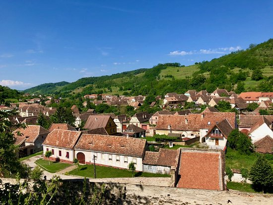 Biertan, Romania: view of village from fortress