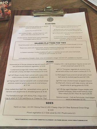 The Rattlebone Inn: Menu June 2018 but there is a good sized specials board too.