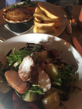 The Rattlebone Inn: Main courses: pie of the day and Monkfish with salad which was fabulous