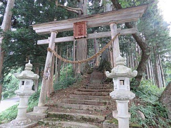 Hakuba-mura, Japan: 木造の鳥居と参道