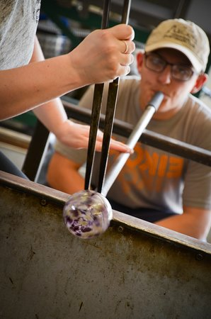 Decatur, GA: Learning how to blow glass ornaments.