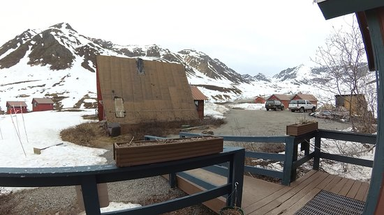 Hatcher Pass Lodge: View of lodges from cafe balcony