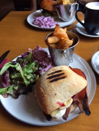 Brie Bacon and Cranberry Panini with side salad coleslaw and chips